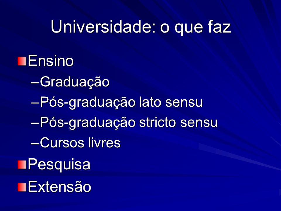 Universidade: o que faz Ensino –Graduação –Pós-graduação lato sensu –Pós-graduação stricto sensu –Cursos livres PesquisaExtensão