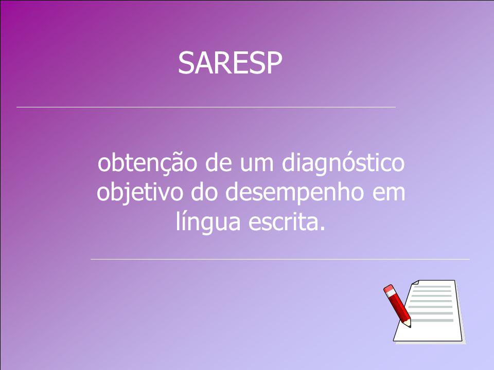 obtenção de um diagnóstico objetivo do desempenho em língua escrita. SARESP