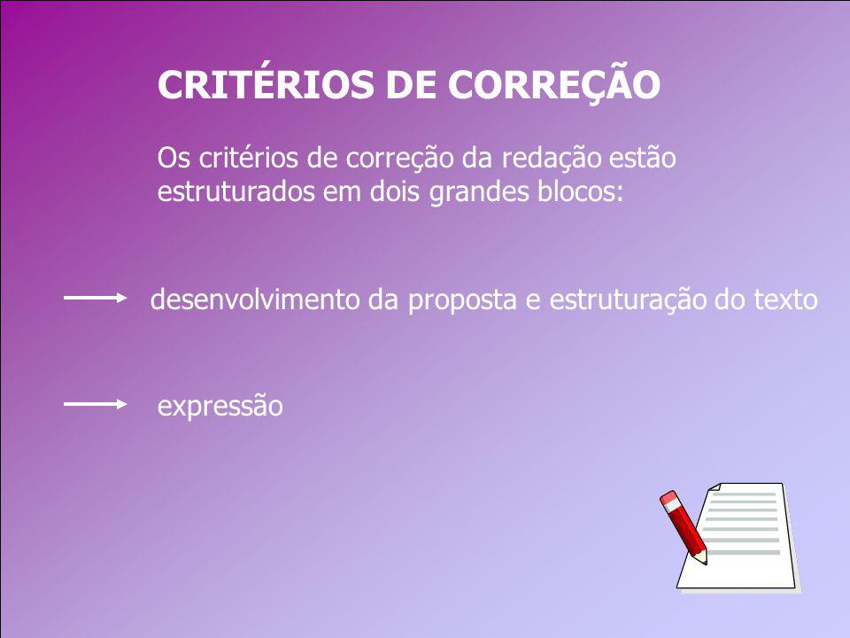 desenvolvimento da proposta e estruturação do texto CRITÉRIOS DE CORREÇÃO Os critérios de correção da redação estão estruturados em dois grandes blocos: expressão