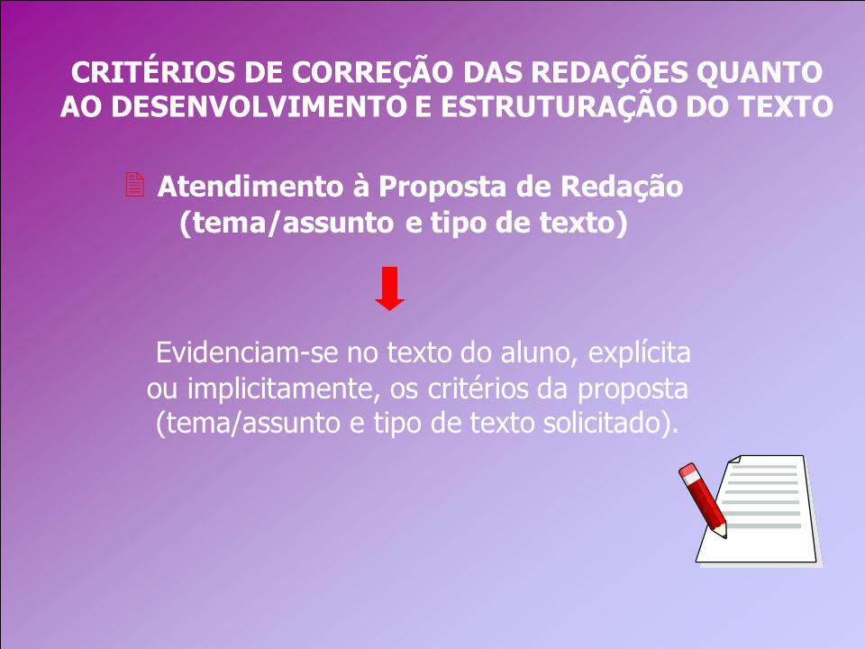 CRITÉRIOS DE CORREÇÃO DAS REDAÇÕES QUANTO AO DESENVOLVIMENTO E ESTRUTURAÇÃO DO TEXTO 2 Atendimento à Proposta de Redação (tema/assunto e tipo de texto) Evidenciam-se no texto do aluno, explícita ou implicitamente, os critérios da proposta (tema/assunto e tipo de texto solicitado).