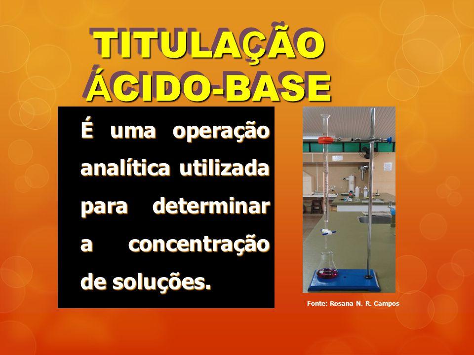 TITULA Ç ÃO Á CIDO-BASE É uma operação analítica utilizada para determinar a concentração de soluções. Fonte: Rosana N. R. Campos