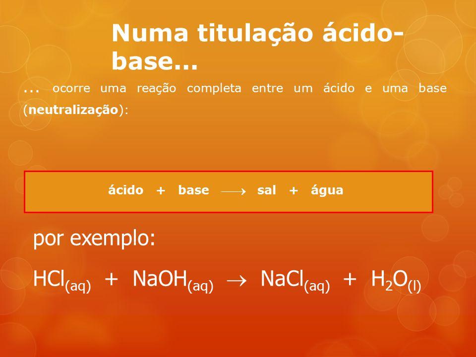 Numa titulação ácido- base...... ocorre uma reação completa entre um ácido e uma base (neutralização): ácido + base  sal + água por exemplo: HCl (aq