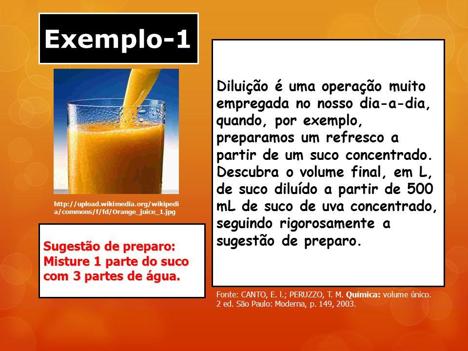 Exemplo-1 http://upload.wikimedia.org/wikipedi a/commons/f/fd/Orange_juice_1.jpg Diluição é uma operação muito empregada no nosso dia-a-dia, quando, p