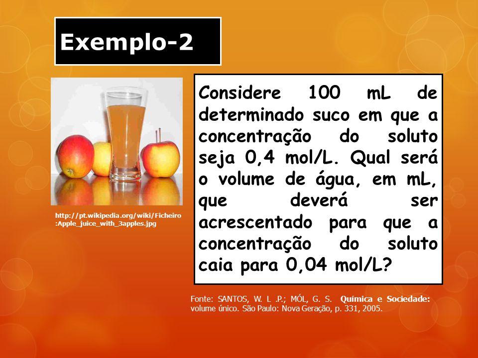 Exemplo-2 http://pt.wikipedia.org/wiki/Ficheiro :Apple_juice_with_3apples.jpg Considere 100 mL de determinado suco em que a concentração do soluto sej