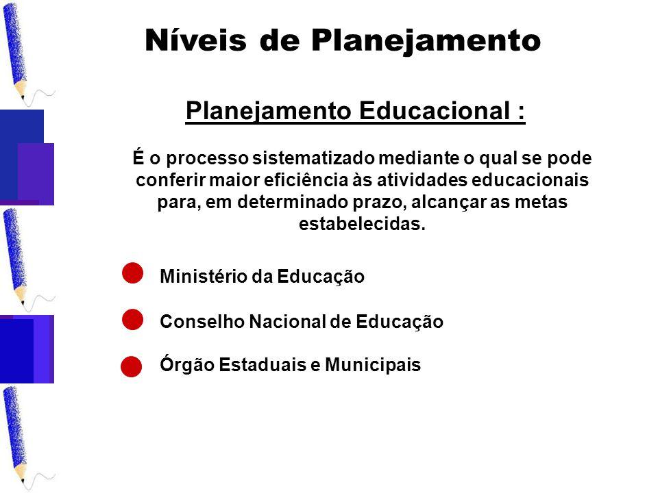 Níveis de Planejamento É o processo sistematizado mediante o qual se pode conferir maior eficiência às atividades educacionais para, em determinado prazo, alcançar as metas estabelecidas.