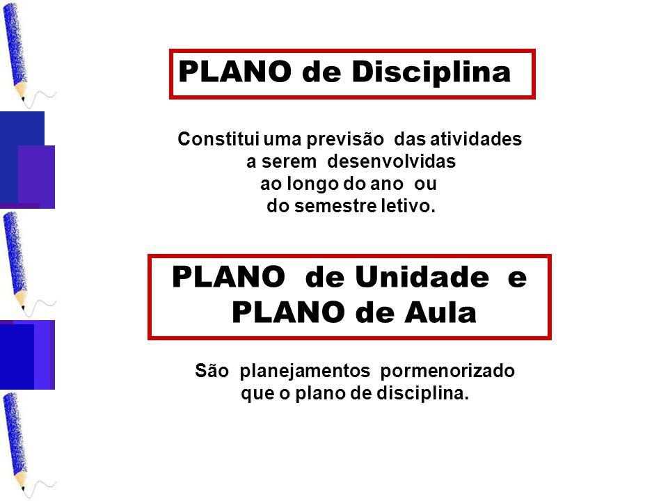 PLANO de Unidade e PLANO de Aula São planejamentos pormenorizado que o plano de disciplina.