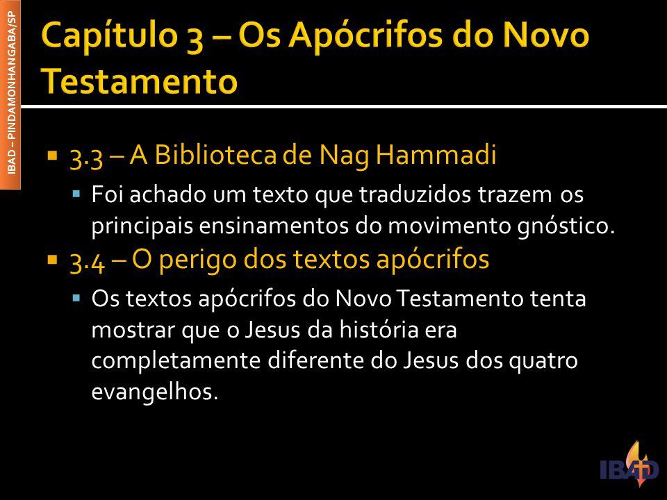 IBAD – PINDAMONHANGABA/SP  Verificaremos livros que contém possíveis palavras de Jesus que não estão nos evangelhos.