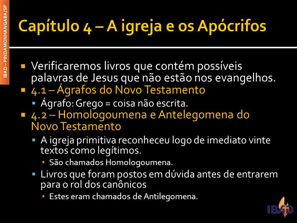 IBAD – PINDAMONHANGABA/SP ▪ 4.2.1 – Epístola aos Hebreus ▪ 4.2.2 – Epístola de Tiago ▪ 4.2.3 – A segunda Epístola de Pedro ▪ 4.2.4 – A segunda e a terceira epístola de João ▪ 4.2.5 – A epístola de Judas ▪ 4.2.6 – O livro de Apocalipse