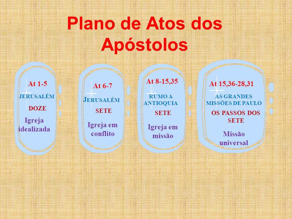 Plano de Atos dos Apóstolos JERUSALÉM DOZE At 1-5 Igreja idealizada At 6-7 J ERUSALÉM SETE Igreja em conflito At 8-15,35 RUMO A ANTIOQUIA SETE Igreja