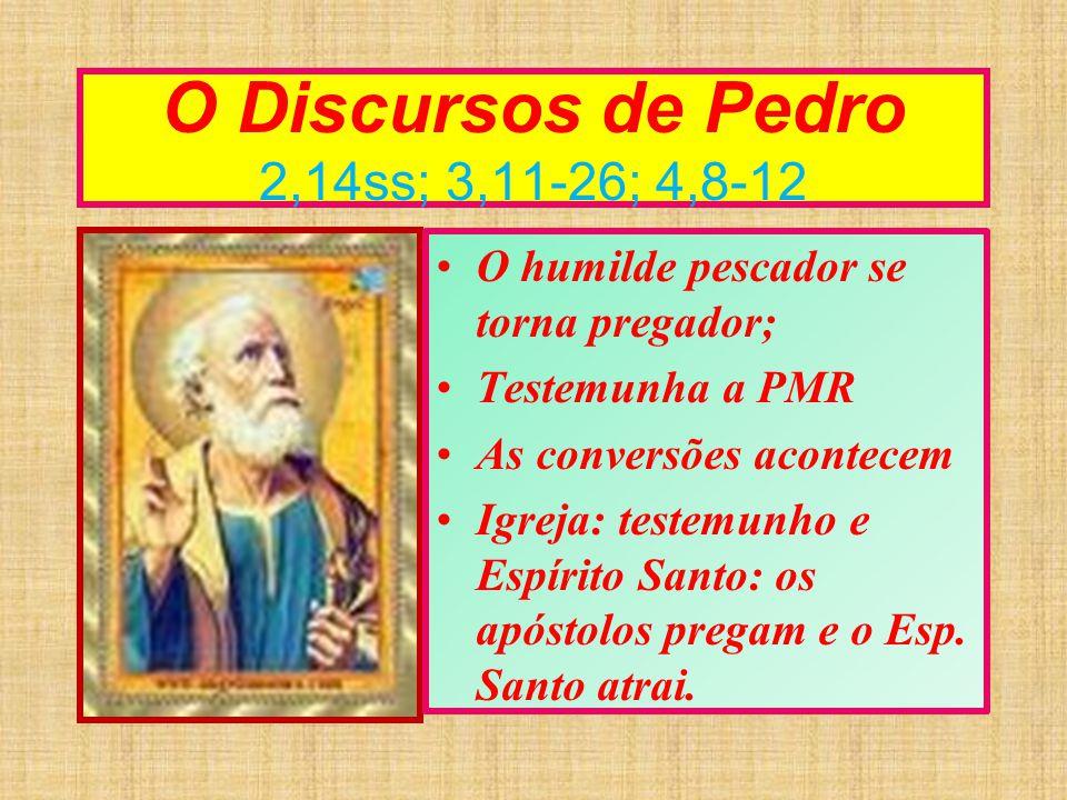 O Discursos de Pedro 2,14ss; 3,11-26; 4,8-12 O humilde pescador se torna pregador; Testemunha a PMR As conversões acontecem Igreja: testemunho e Espír
