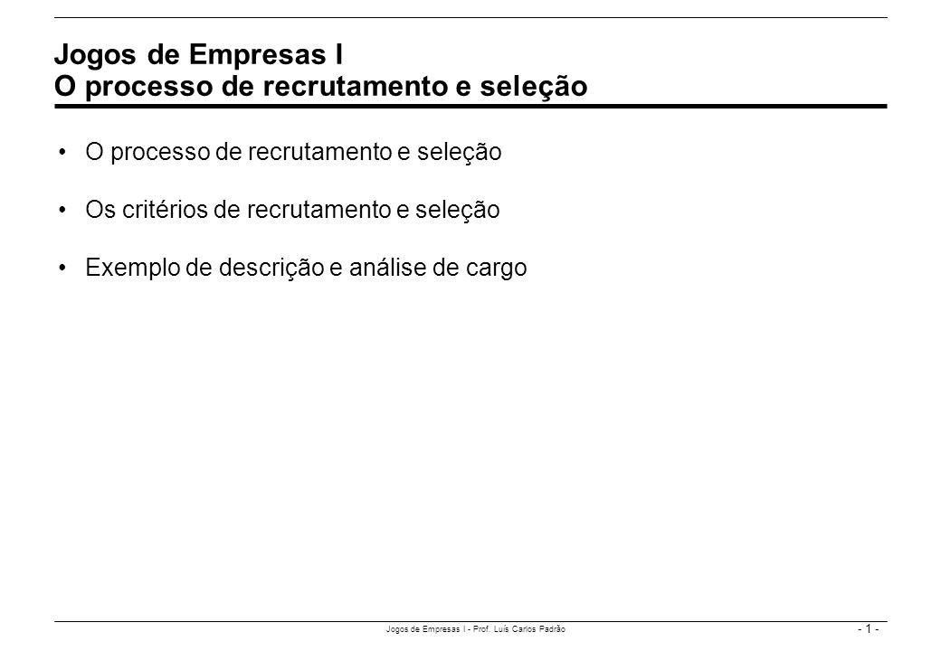 - 1 - Jogos de Empresas I - Prof. Luís Carlos Padrão O processo de recrutamento e seleção Os critérios de recrutamento e seleção Exemplo de descrição