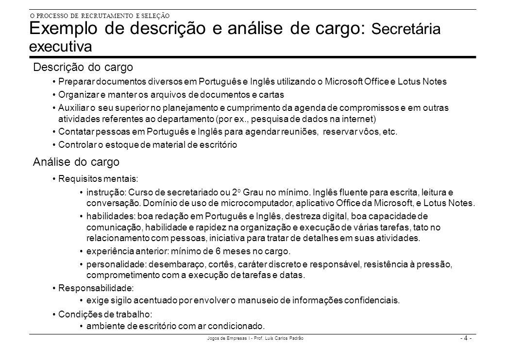 - 4 - Jogos de Empresas I - Prof. Luís Carlos Padrão Exemplo de descrição e análise de cargo: Secretária executiva Descrição do cargo Preparar documen