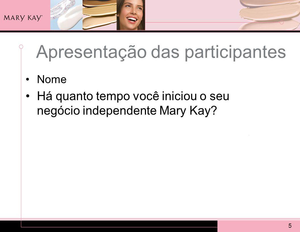 5 Apresentação das participantes Nome Há quanto tempo você iniciou o seu negócio independente Mary Kay?