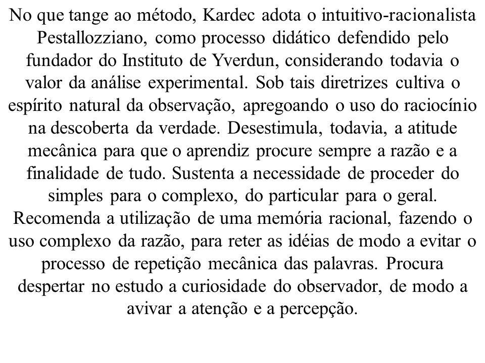 No que tange ao método, Kardec adota o intuitivo-racionalista Pestallozziano, como processo didático defendido pelo fundador do Instituto de Yverdun, considerando todavia o valor da análise experimental.