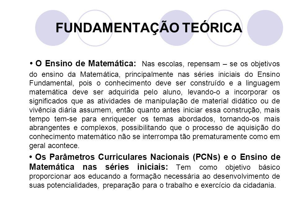 FUNDAMENTAÇÃO TEÓRICA O Ensino de Matemática: Nas escolas, repensam – se os objetivos do ensino da Matemática, principalmente nas séries iniciais do E