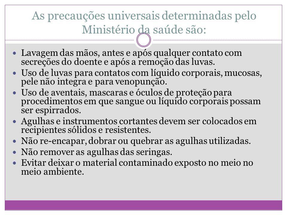 As precauções universais determinadas pelo Ministério da saúde são: Lavagem das mãos, antes e após qualquer contato com secreções do doente e após a r