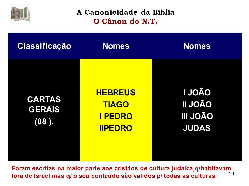 ClassificaçãoNomes CARTAS GERAIS (08 ).