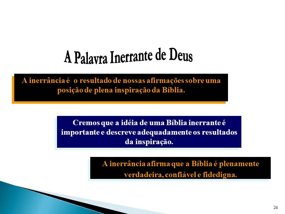 Cremos que a idéia de uma Bíblia inerrante é importante e descreve adequadamente os resultados da inspiração.