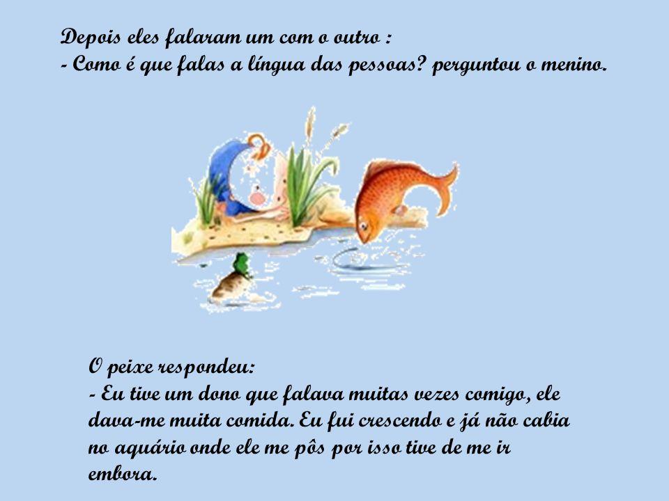 O peixe respondeu: - Eu tive um dono que falava muitas vezes comigo, ele dava-me muita comida.