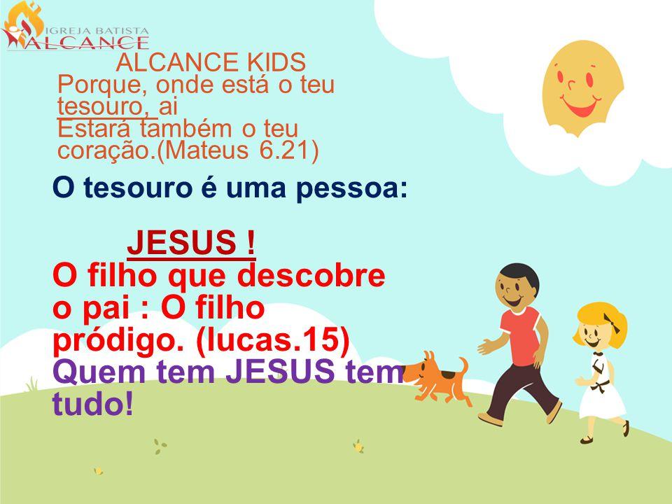 O tesouro é uma pessoa: JESUS .O filho que descobre o pai : O filho pródigo.