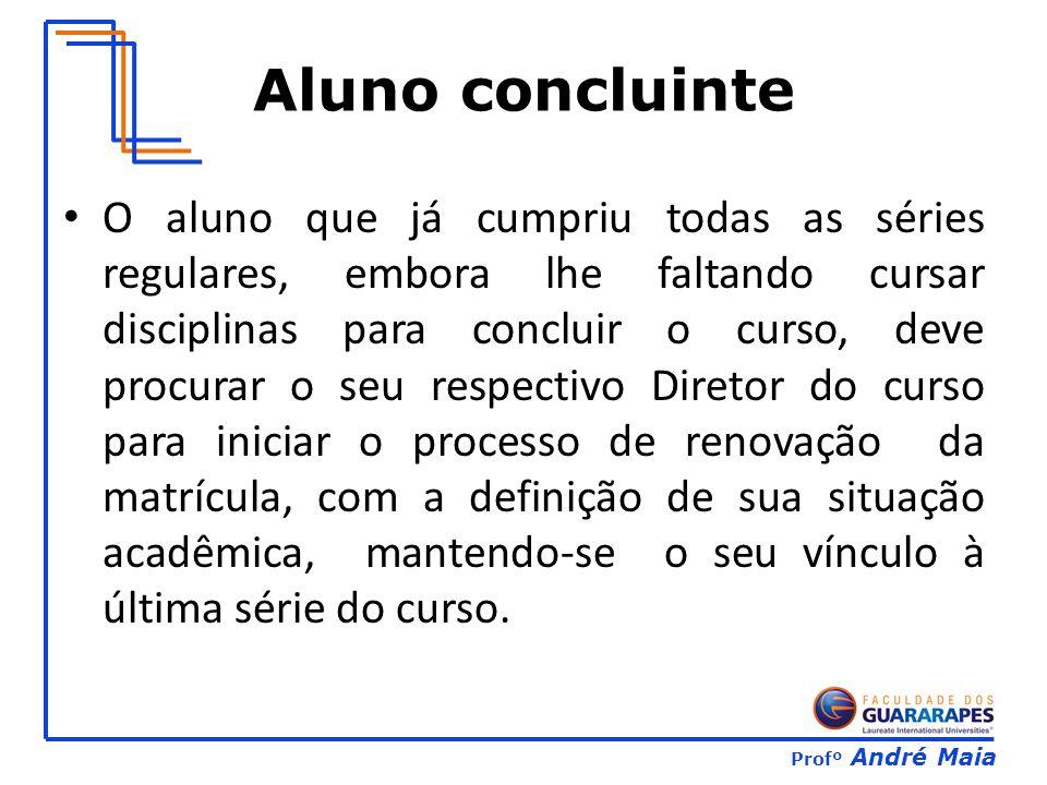 Profº André Maia Aluno concluinte O aluno que já cumpriu todas as séries regulares, embora lhe faltando cursar disciplinas para concluir o curso, deve