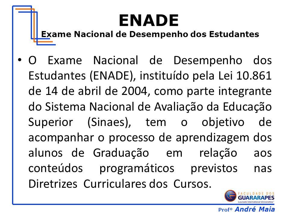 Profº André Maia ENADE Exame Nacional de Desempenho dos Estudantes O Exame Nacional de Desempenho dos Estudantes (ENADE), instituído pela Lei 10.861 d