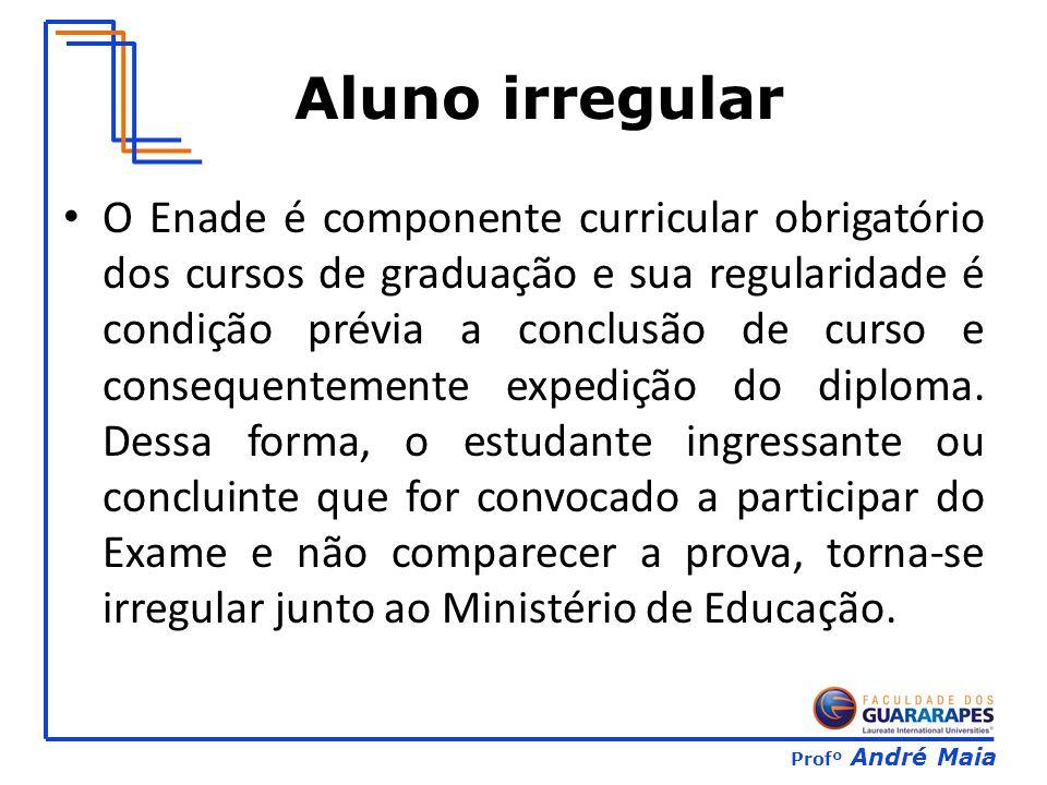 Profº André Maia Aluno irregular O Enade é componente curricular obrigatório dos cursos de graduação e sua regularidade é condição prévia a conclusão de curso e consequentemente expedição do diploma.