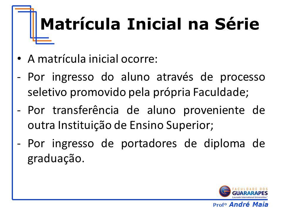 Profº André Maia Matrícula Inicial na Série A matrícula inicial ocorre: -Por ingresso do aluno através de processo seletivo promovido pela própria Fac
