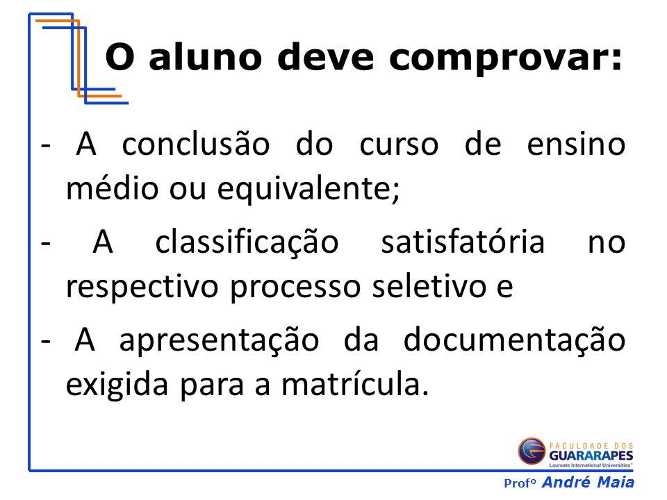 Profº André Maia O aluno deve comprovar: - A conclusão do curso de ensino médio ou equivalente; - A classificação satisfatória no respectivo processo seletivo e - A apresentação da documentação exigida para a matrícula.