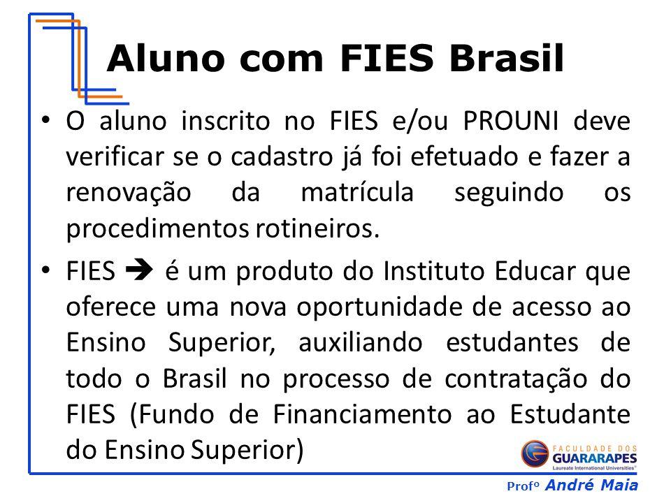 Profº André Maia Aluno com FIES Brasil O aluno inscrito no FIES e/ou PROUNI deve verificar se o cadastro já foi efetuado e fazer a renovação da matrícula seguindo os procedimentos rotineiros.