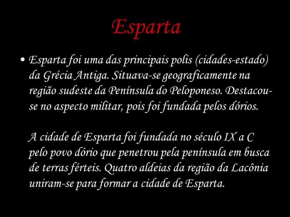 Esparta Esparta foi uma das principais polis (cidades-estado) da Grécia Antiga. Situava-se geograficamente na região sudeste da Península do Pelopones