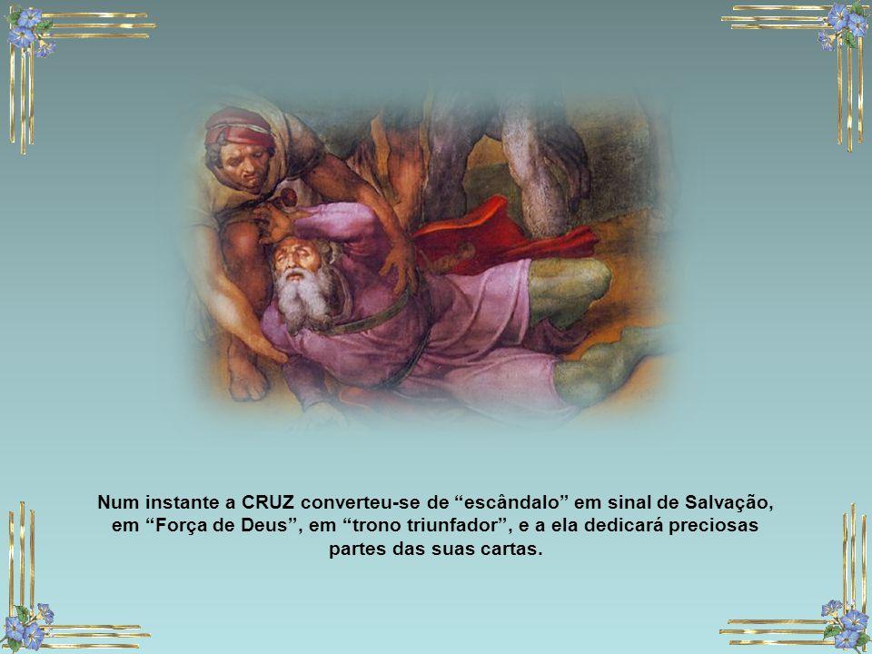 """Uma voz falou-lhe, pronunciando o seu nome por duas vezes, num tom de queixa e dor. """"Saulo, Saulo, por que me persegues?"""" A rendição é total e Saulo p"""