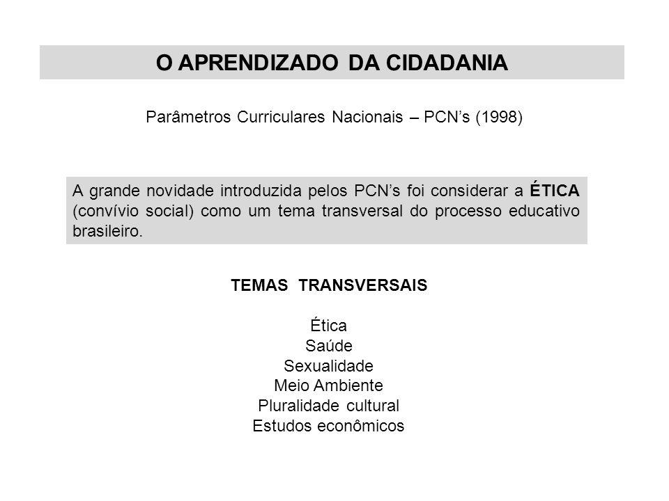 O APRENDIZADO DA CIDADANIA Parâmetros Curriculares Nacionais – PCN's (1998) A grande novidade introduzida pelos PCN's foi considerar a ÉTICA (convívio social) como um tema transversal do processo educativo brasileiro.