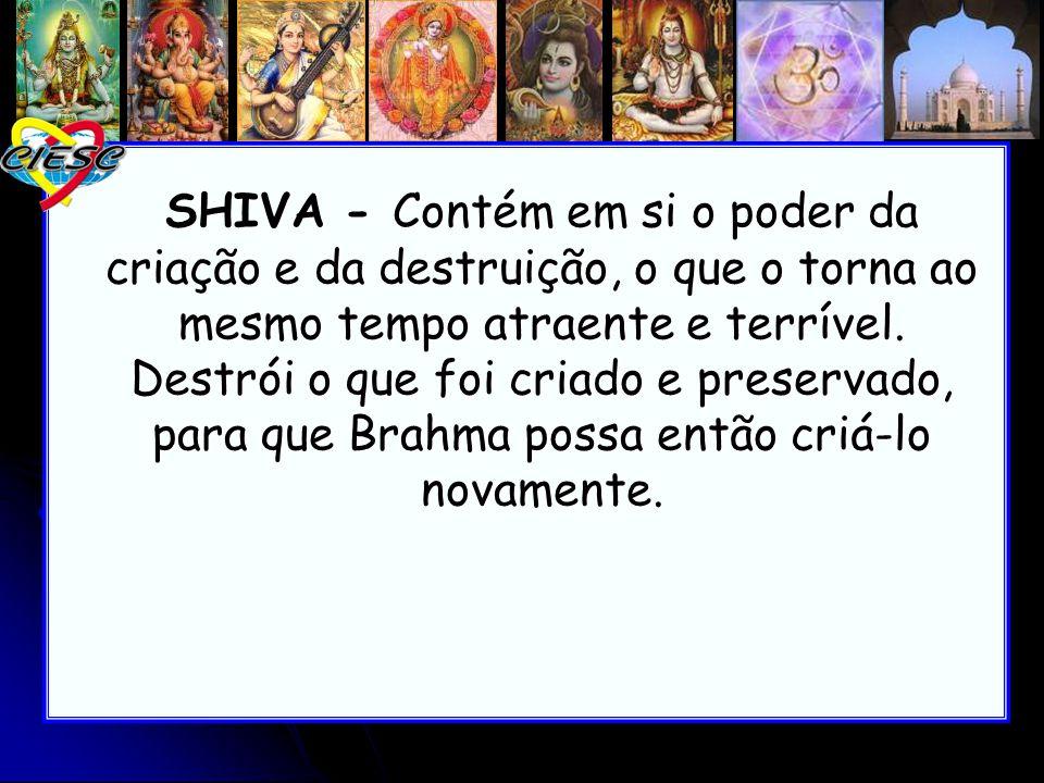 SHIVA - Contém em si o poder da criação e da destruição, o que o torna ao mesmo tempo atraente e terrível. Destrói o que foi criado e preservado, para