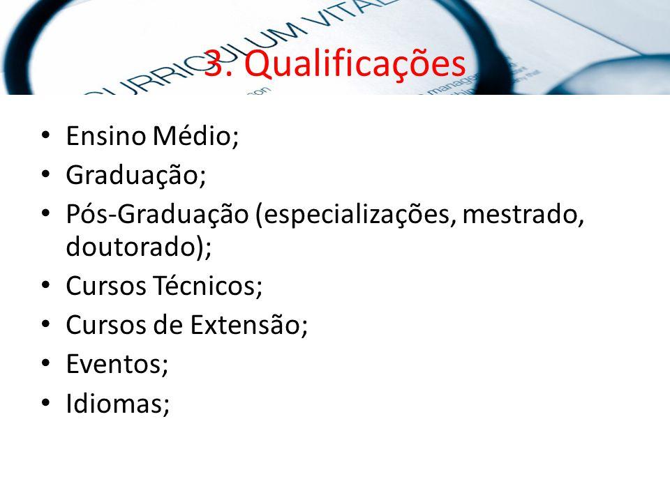 3. Qualificações Ensino Médio; Graduação; Pós-Graduação (especializações, mestrado, doutorado); Cursos Técnicos; Cursos de Extensão; Eventos; Idiomas;