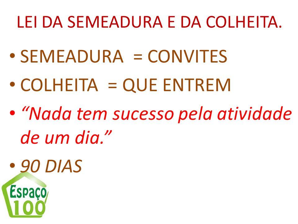 """LEI DA SEMEADURA E DA COLHEITA. SEMEADURA = CONVITES COLHEITA = QUE ENTREM """"Nada tem sucesso pela atividade de um dia."""" 90 DIAS"""