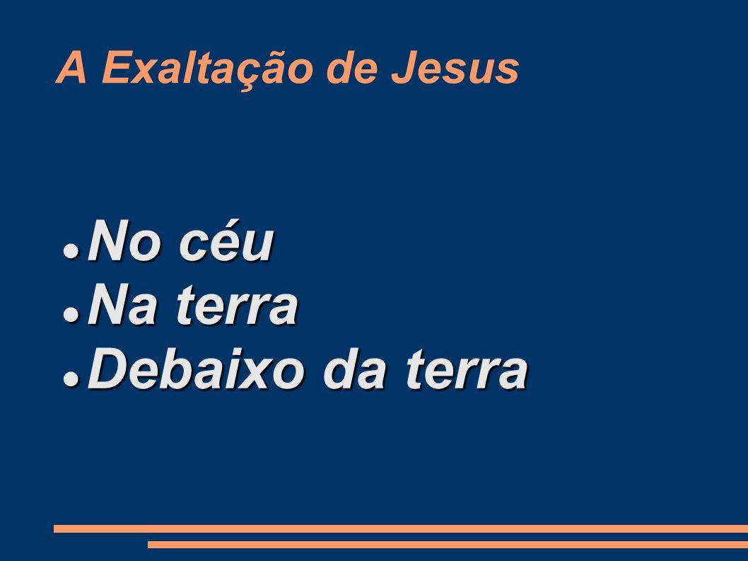 A Exaltação de Jesus No céu No céu Na terra Na terra Debaixo da terra Debaixo da terra