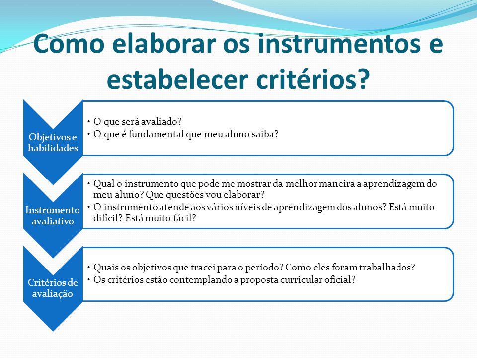 Como elaborar os instrumentos e estabelecer critérios? Objetivos e habilidades O que será avaliado? O que é fundamental que meu aluno saiba? Instrumen
