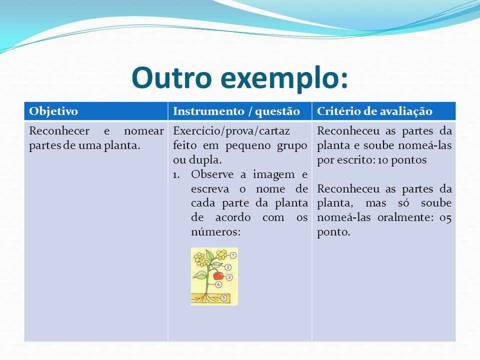 Outro exemplo: ObjetivoInstrumento / questãoCritério de avaliação Reconhecer e nomear partes de uma planta. Exercício/prova/cartaz feito em pequeno gr