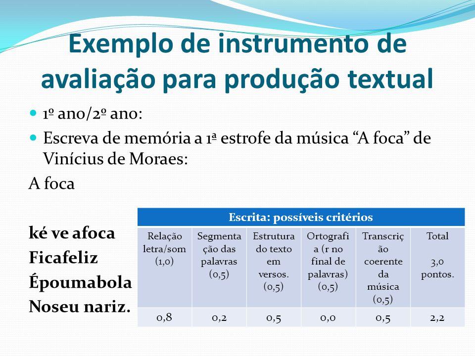 Exemplo de instrumento de avaliação para produção textual 1º ano/2º ano: Escreva de memória a 1ª estrofe da música A foca de Vinícius de Moraes: A foca ké ve afoca Ficafeliz Époumabola Noseu nariz.