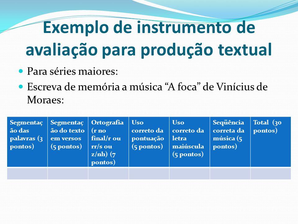 Exemplo de instrumento de avaliação para produção textual Para séries maiores: Escreva de memória a música A foca de Vinícius de Moraes: Segmentaç ão das palavras (3 pontos) Segmentaç ão do texto em versos (5 pontos) Ortografia (r no final/r ou rr/s ou z/nh) (7 pontos) Uso correto da pontuação (5 pontos) Uso correto da letra maiúscula (5 pontos) Seqüência correta da música (5 pontos) Total (30 pontos)