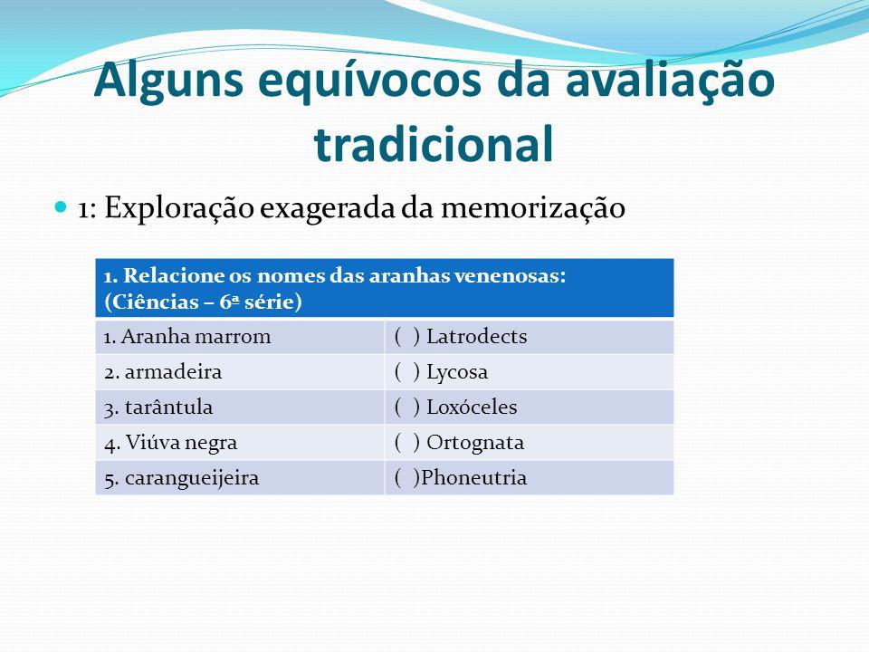 Alguns equívocos da avaliação tradicional 1: Exploração exagerada da memorização 1. Relacione os nomes das aranhas venenosas: (Ciências – 6ª série) 1.