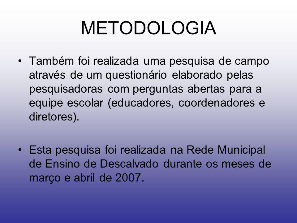 METODOLOGIA Também foi realizada uma pesquisa de campo através de um questionário elaborado pelas pesquisadoras com perguntas abertas para a equipe escolar (educadores, coordenadores e diretores).