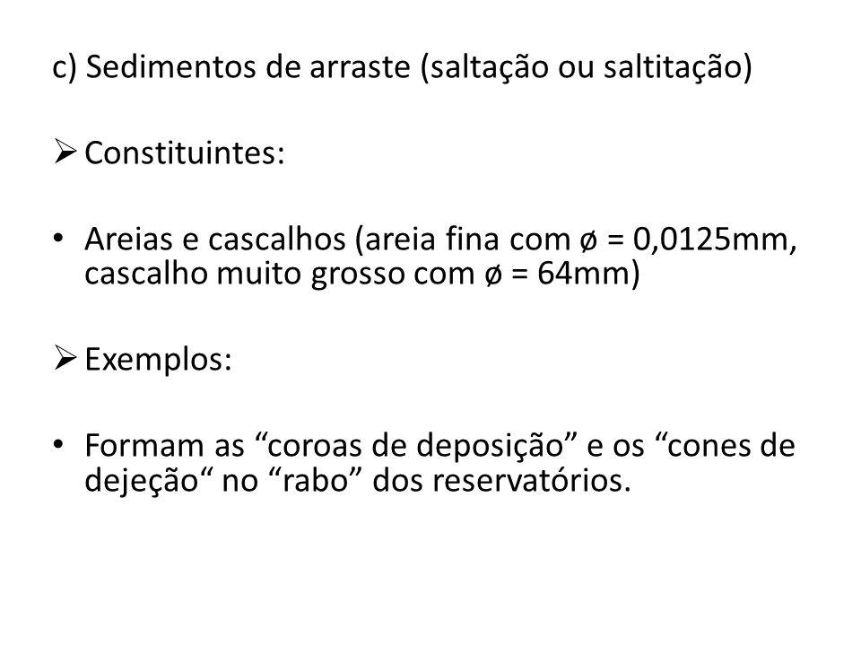 c) Sedimentos de arraste (saltação ou saltitação)  Constituintes: Areias e cascalhos (areia fina com ø = 0,0125mm, cascalho muito grosso com ø = 64mm