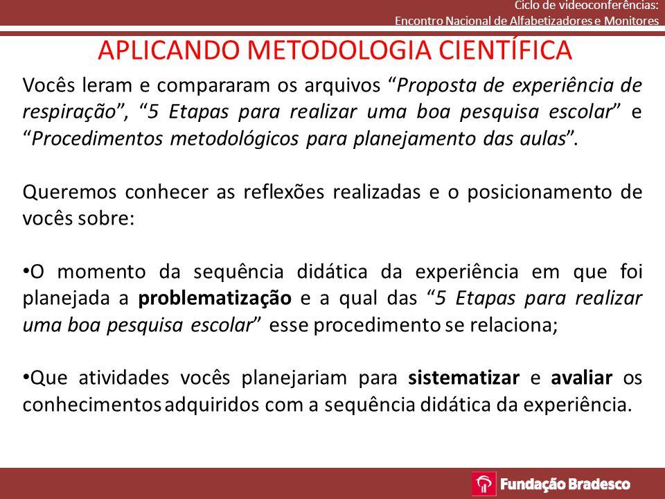APLICANDO METODOLOGIA CIENTÍFICA Nesse momento atribuímos o microfone aos participantes.