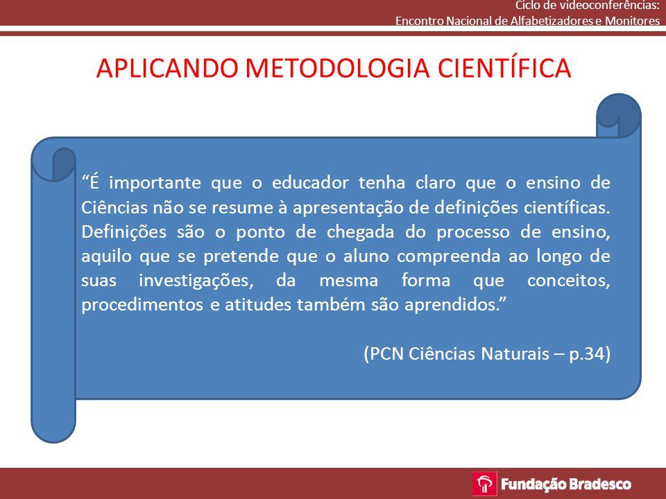 "APLICANDO METODOLOGIA CIENTÍFICA Ciclo de videoconferências: Encontro Nacional de Alfabetizadores e Monitores ""É importante que o educador tenha claro"