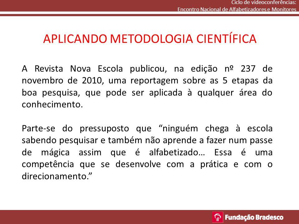 Ciclo de videoconferências: Encontro Nacional de Alfabetizadores e Monitores APLICANDO METODOLOGIA CIENTÍFICA 1.