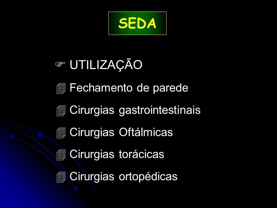 SEDA  UTILIZAÇÃO 4 Fechamento de parede 4 Cirurgias gastrointestinais 4 Cirurgias Oftálmicas 4 Cirurgias torácicas 4 Cirurgias ortopédicas