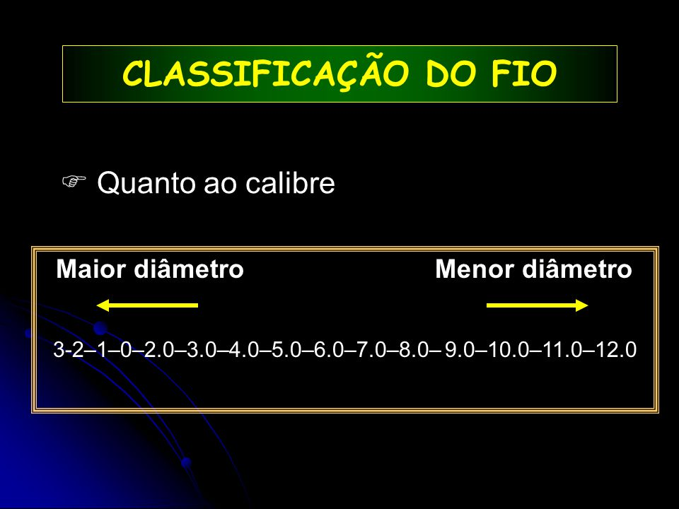  Quanto ao calibre CLASSIFICAÇÃO DO FIO Maior diâmetro Menor diâmetro 3-2–1–0–2.0–3.0–4.0–5.0–6.0–7.0–8.0– 9.0–10.0–11.0–12.0