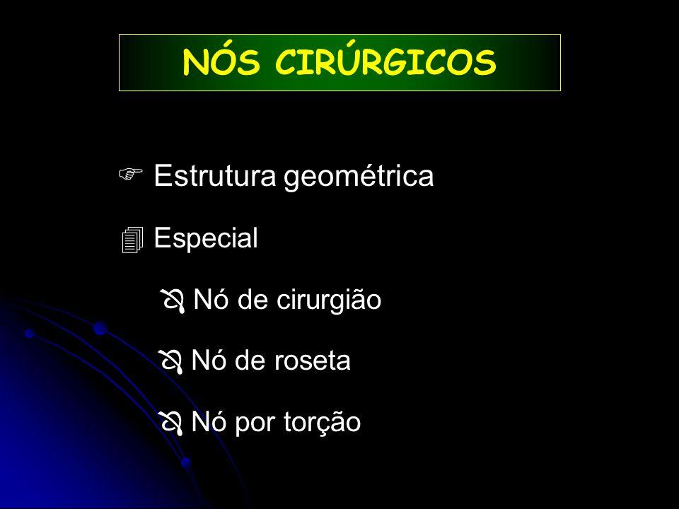 NÓS CIRÚRGICOS  Estrutura geométrica 4 Especial  Nó de cirurgião  Nó de roseta  Nó por torção